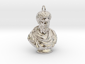 Marcus Aurelius Keychains 2 inches tall in Rhodium Plated Brass