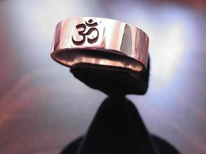 OM Ring - Embossed in Fine Detail Polished Silver