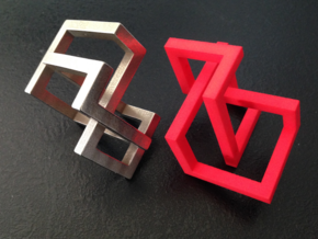 Knotcube6mm-54mm-creuxepaispuzzle in Red Strong & Flexible Polished: Medium