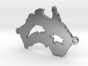 Australia charm curved in Natural Silver