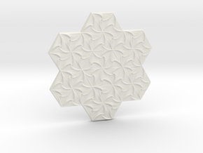 Hexagonal Spirals - Medium-sized Miniature in White Natural Versatile Plastic