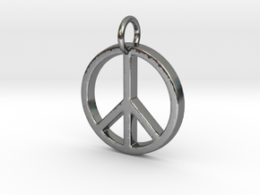 Peace Symbol in Polished Silver