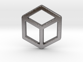 2d Cube in Polished Nickel Steel