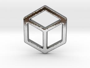 2d Cube in Polished Silver