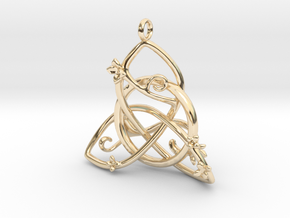 Budding Trinity Pendant in 14k Gold Plated Brass