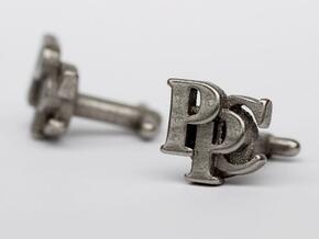 Custom cufflink nr.14 in Polished Bronzed Silver Steel