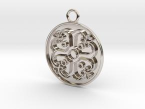 Pendant Swirled Cross in Rhodium Plated Brass