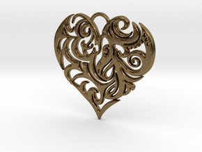 Beautiful Romantic Floral Heart Pendant Charm in Natural Bronze