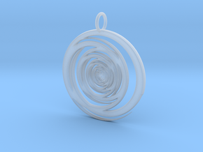 Abstract Vortex Swirl Pendant Charm in Smooth Fine Detail Plastic