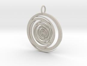 Abstract Vortex Swirl Pendant Charm in Natural Sandstone