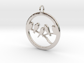 Birds In Circle Pendant Charm in Platinum