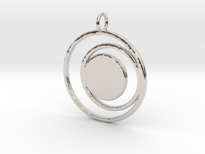 Abstract Two Moons Pendant Charm in Platinum