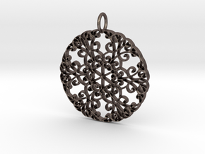 Elegant Flourish Beautiful Pendant Charm in Polished Bronzed Silver Steel