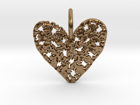 Keith Haring Heart Pendant in Natural Brass