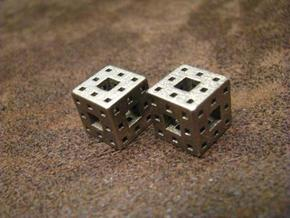 Menger Sponge Earrings in Polished Bronzed Silver Steel