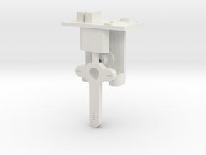 HO LQ Signal Mech - Brass Steel One Arm Post in White Natural Versatile Plastic