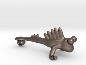 The mudskipper pendant (with variants) in Polished Bronzed Silver Steel: Medium