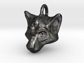 Wolf Pendant in Polished and Bronzed Black Steel