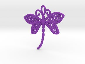 Dragonfly Earrings or pendant in Purple Processed Versatile Plastic
