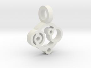 Rings Pendant in White Natural Versatile Plastic