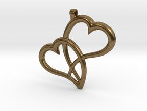 Hearts Pendant in Natural Bronze