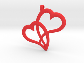 Hearts Pendant in Red Processed Versatile Plastic