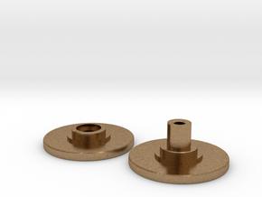 Spinner Caps - Screw Design (Pair) in Natural Brass
