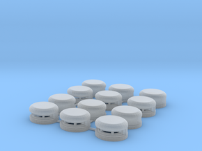 Set of 12 Oval Bunker / Pill Box in Smooth Fine Detail Plastic