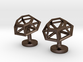 Geometric Cufflinks in Polished Bronze Steel