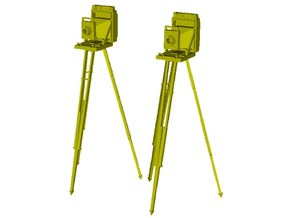 1/20 scale vintage cameras with tripods x 2 in Smooth Fine Detail Plastic