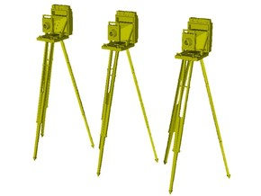 1/20 scale vintage cameras with tripods x 3 in Smooth Fine Detail Plastic