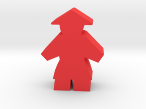 Game Piece, Asian Peasant Worker in Red Processed Versatile Plastic