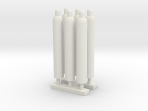 1:64 Gas Cylinders Pack of Six in White Strong & Flexible