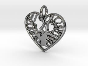 Angel Oak Tree - heart in Polished Silver