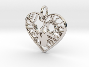Angel Oak Tree - heart in Rhodium Plated Brass