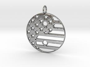 American USA Flag Yin Yang Symbol Pendant Charm in Natural Silver