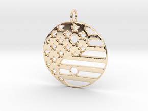 American USA Flag Yin Yang Symbol Pendant Charm in 14k Gold Plated Brass