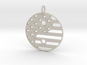 American USA Flag Yin Yang Symbol Pendant Charm in Natural Sandstone
