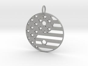 American USA Flag Yin Yang Symbol Pendant Charm in Aluminum