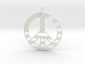 American USA Flag Peace Symbol Pendant Charm in White Natural Versatile Plastic