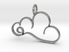 Curvy Cloud Pendant Charm in Natural Silver
