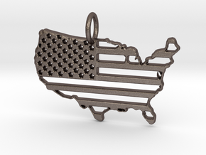 American USA Flag Map Pendant Charm in Polished Bronzed Silver Steel