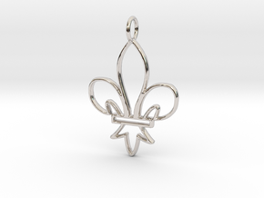 Fleur De Lis Symbol Stylized Lily Pendant Charm in Rhodium Plated Brass