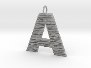 Trendy Modern Monogram A Initial Pendant Charm in Aluminum