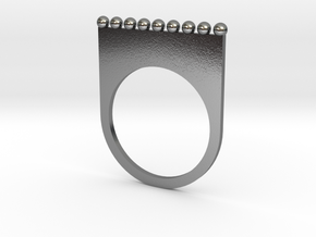 Jewelled flat ring (size 7) in Polished Silver