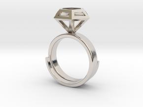 Diamondring US 6 in Rhodium Plated Brass
