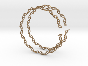 """Double Helix 75 mm (3"""") Hoops - curly in Natural Brass"""