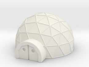 Small Geo Dome in White Natural Versatile Plastic