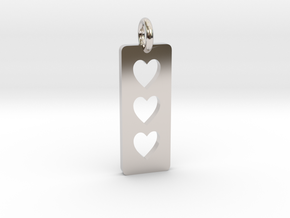 Triple heart Pendant - Cutout Collection in Rhodium Plated Brass