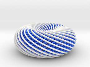 BlueWhite Spiral Torus-104mm in Glossy Full Color Sandstone